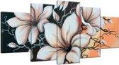 Schilderij handgeschilderd Magnolia   Bruin , Zwart , Oranje   150x70cm 5Luik