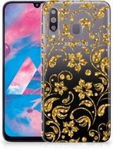 Samsung Galaxy M30 TPU Case Gouden Bloemen