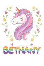 Bethany: Bethany Notebook Journal 6x9 Personalized Gift For Bethany Unicorn Rainbow Colors Lined Paper
