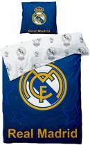 Real Madrid Logo - Dekbedovertrek - Eenpersoons - 140 x 200 cm - Blauw