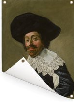 Portret van een man - Schilderij van Frans Hals Tuinposter 60x80 cm - Tuindoek / Buitencanvas / Schilderijen voor buiten (tuin decoratie)
