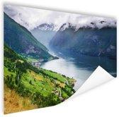 Aurlands Fjord Noorwegen foto Poster 90x60 cm - Foto print op Poster (wanddecoratie)
