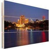 Stadslichten over de rivier de Torrens bij het Australische Adelaide Vurenhout met planken 120x80 cm - Foto print op Hout (Wanddecoratie)