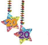 Hangdecoratie Birthday Blocks 20 jaar - 2 stuks