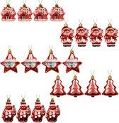 Decoratieve Kerstballen set - 20 stuks assorti - Plastic / Kunststof - Rood - geschikt voor binnengebruik en buitengebruik