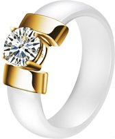Cilla Jewels dames ring Keramiek Wit met Goud-16mm