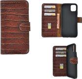 iPhone 11 Cover Wallet Bookcase Pearlycase Echt Leder hoesje Croco Bruin