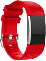 Bandje Large Voor de Fitbit Charge 2 - Siliconen Armband / Polsband / Strap Band / Sportband - Rood