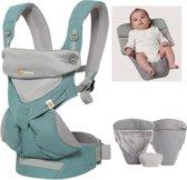 Ergobaby Geboortepakket: babydraagzak 360 Cool Air Icy Mint incl. verkleinkussen Cool Air grey