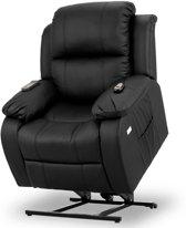 Sta-op-stoel - Sta op stoel met massagefunctie, verstelbare rugleuning en uitschuifbare voetensteun - Relax fauteuil met sta op functie - Roma Zwart -