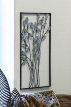 Wanddecoratie metaal 'takjes' zwart/zilvergrijs 62cm