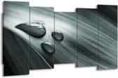 Schilderij | Canvas Schilderij Macro, Druppel | Grijs, Groen, Zwart | 150x80cm 5Luik | Foto print op Canvas