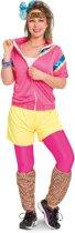 80's Trainingspak Disco Vrouw Neon Roze 3-delig- Verkleedkleding - Maat S/M - Carnavalskleding