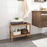 Bamboe houten badkamerkast + tafeltje in 1 - Schoenenplank voor 3-4 paar - Schoenen Organizer - Badkamertafel - Badkamermeubel - Schoenenrek 2 verdiepingen - Anno 1588 - 60 x 26 x 50cm (LxBxH) - Houtkleur