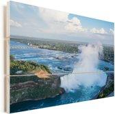 Luchtfoto van de Niagarawatervallen Vurenhout met planken 90x60 cm - Foto print op Hout (Wanddecoratie)