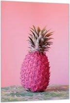Dibond – Roze Ananas– 40x60cm Foto op Dibond;Aluminium (Wanddecoratie van metaal)