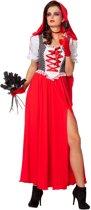 Roodkapje Kostuum | Dame Met Rode Cape, Lang En Stijlvol | Vrouw | Maat 42 | Carnaval kostuum | Verkleedkleding