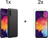 Samsung Galaxy A50 Siliconen Hoesje - 2 x Tempered Glass Screenprotector - Zwart