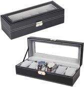 Horlogebox opbergdoos voor horloges en sieraden - Horloge en armbanden opbergdoos - 6 stuks - zachte voering