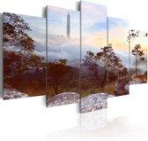 Schilderij - Toren en Horizon,  5luik
