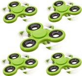 relaxdays 5 x Fidget Spinner - tri-spinner 58g hand spinner - anti-stress speelgoed groen