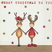 20x Rendieren Kerst servetten wit/goud 33 x 33 cm