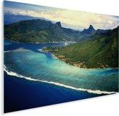 Luchtfoto van Moorea-eiland in Frans-Polynesië Plexiglas 80x60 cm - Foto print op Glas (Plexiglas wanddecoratie)