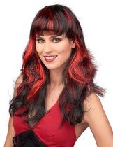 Rood-zwart pruik voor dames - Verkleedpruik