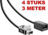 4 x verlengkabel voor Nintendo Mini Classic NES / SNES Controller 3 meter (2016 model)