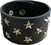 Fako Bijoux® - Armband - Breed - Studs - Ster - Zwart
