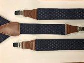 Sorprese – Luxe chique – heren bretels – donkerblauw met witte stip - bruin leer - 3 extra stevige clips