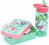 Broodtrommel + drinkfles Zeemeermin   Lunchbox kinderen BPA vrij LS01