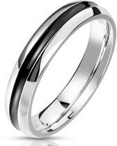 Ring Dames - Ringen Dames - Ringen Vrouwen - Ringen Mannen - Zilverkleurig - Zilveren Kleur - Zwart Middenstuk - Ribbon