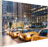 Taxi stand in New York City Hout 120x80 cm - Foto print op Hout (Wanddecoratie)