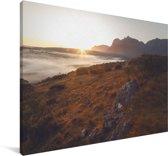 Zonsopgang in het Nationaal park Andringitra Canvas 90x60 cm - Foto print op Canvas schilderij (Wanddecoratie woonkamer / slaapkamer)