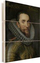 Portret van Ambrogio Spinola - Schilderij van Michiel Jansz van Mierevelt Vurenhout met planken 120x160 cm - Foto print op Hout (Wanddecoratie) XXL / Groot formaat!