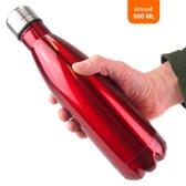 Vannons - RVS Drinkfles - Thermosfles - Dubbelwandige Fles - Isoleerfles - met Draaidop - Rood