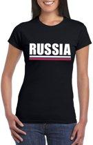 Zwart Rusland supporter t-shirt voor dames XL