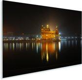 Gloed van de Gouden Tempel in de avond in India Plexiglas 30x20 cm - klein - Foto print op Glas (Plexiglas wanddecoratie)