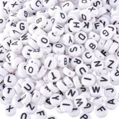 Acryl Letterkralen Mix 500 stuks (7 mm) - Ronde Witte Alfabet Kralen - Letterkralen Hobby - Letterkralen Armband