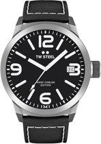 Horloge TW-Steel Marc Coblen TWMC54 analoog zwart leren band 50mm zwarte wijzerplaat