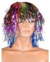Glitter disco folie pruik multi kleuren
