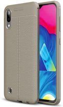 Teleplus Samsung Galaxy A10 Leather Textured Silicone Case Gray + Nano Screen Protector hoesje