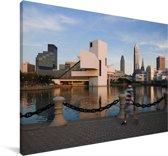 De skyline van Cleveland in de Amerikaanse staat Ohio Canvas 140x90 cm - Foto print op Canvas schilderij (Wanddecoratie woonkamer / slaapkamer)