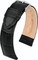 Hirsch horlogeband DUKE zwart 22mm Extra Lang