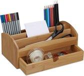 relaxdays pennenbakje bamboe, bureau organizer, pennen houder, tafel organizer