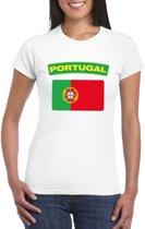 T-shirt met Portugese vlag wit dames XS