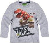 Dinotrux-T-shirt-met-lange-mouw-grijs - Maat 104