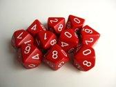 10  Tienzijdige Dobbelstenen Rood met Wit 16mm