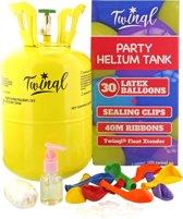 Twinql - Helium Tank Set - Inclusief zweefverlengende gel, 30 ballonnen, 30 easy sealing clips en 40 meter lint